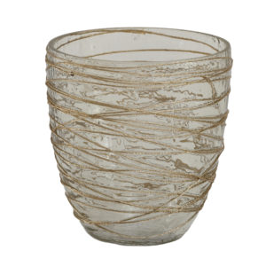Gold Glass Tealight ribbed round XS Woonaccessoires PTMD