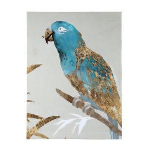 Schilderij Papegaai white/blue/shiney/gold Woonaccessoires PTMD