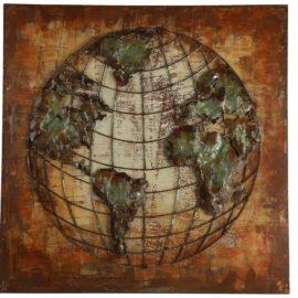Schilderij Wereldbol Koper Woonaccessoires countryfield