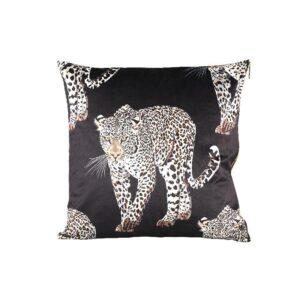 Black Velvet Leopard Kussen Woonaccessoires PTMD